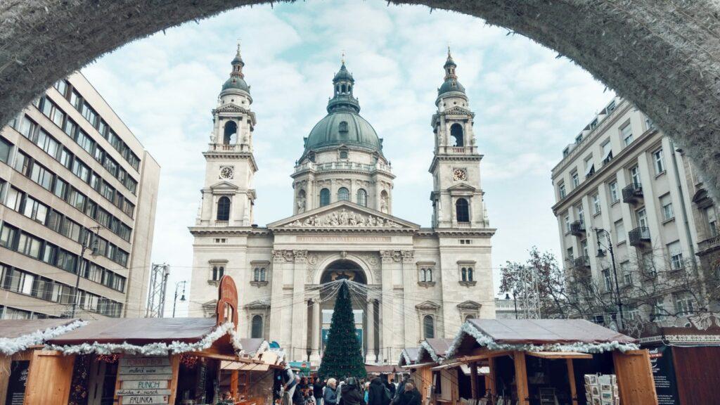 St. Stephen's Basilica, Christmas Market in Budapest, Hungary.