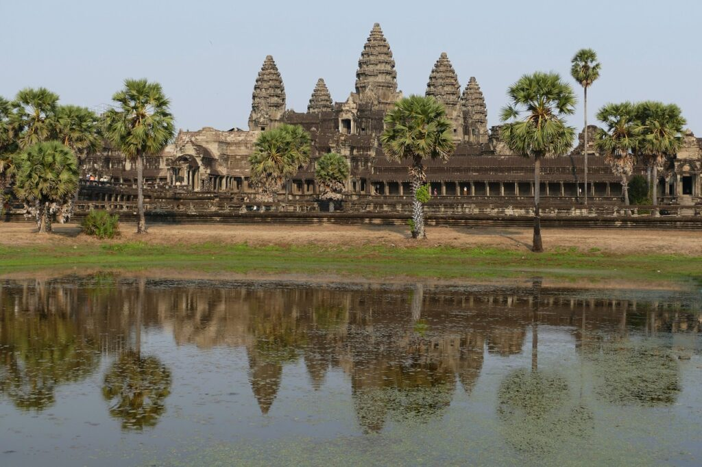 Angkor Wat. Asian River cruising on Mekong