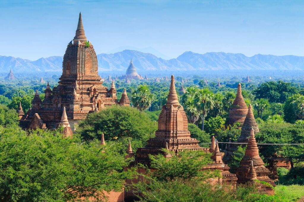 Bagan Temples, Myanmar. Asian River cruising on Irrawaddy.