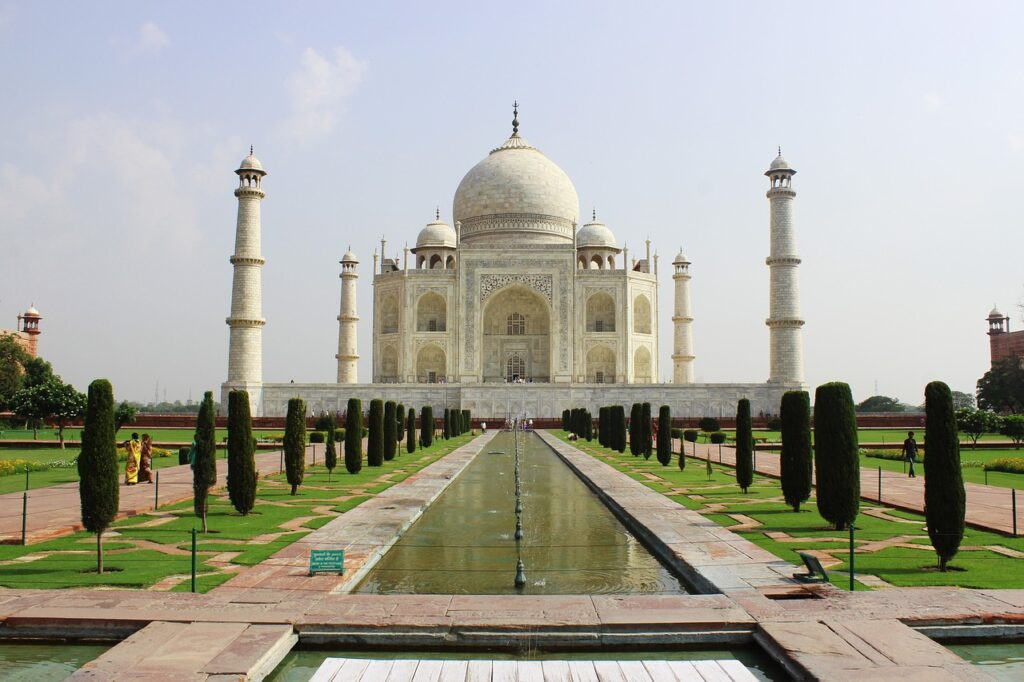India. Delhi. Agra. Taj Mahal. Asian River cruising on Ganges.