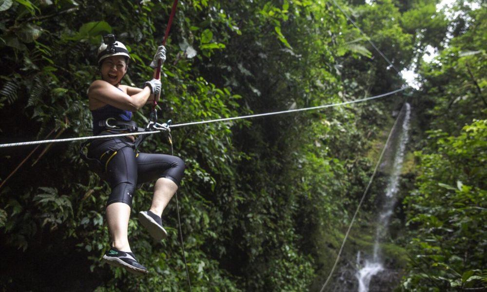 Costa Rica La Fortuna Canyoneering Female Traveller Laughing