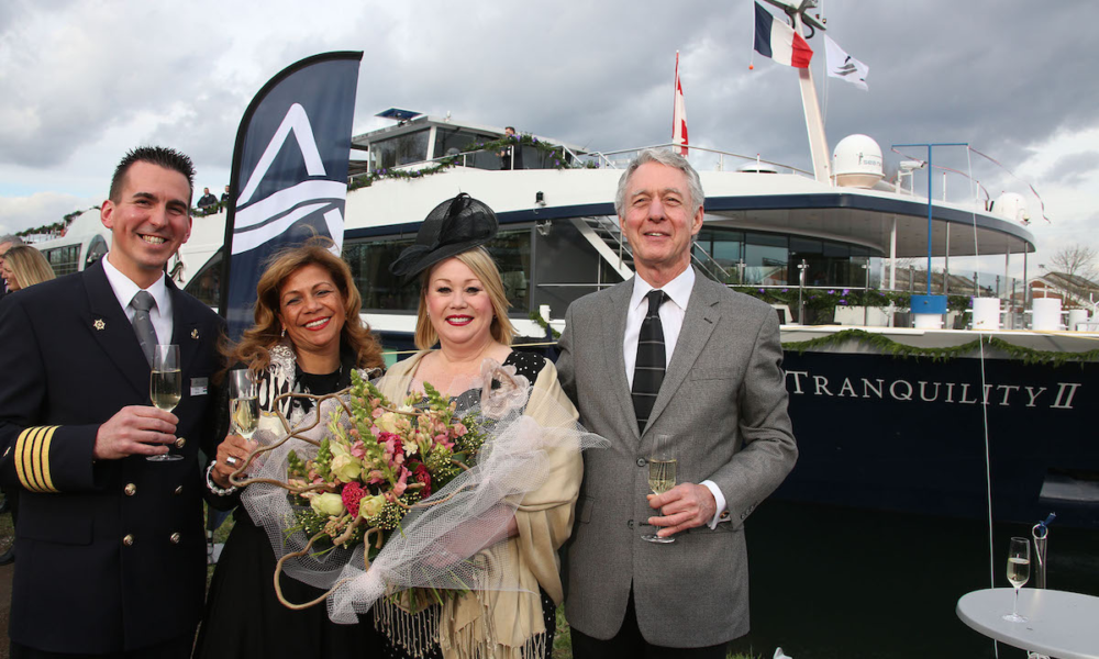 Jann Arden at the christening of Avalon's newest ship